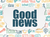 News concept: Good News on Torn Paper background — Stock Photo