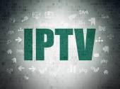 O conceito de desenvolvimento Web: Iptv sobre fundo de papel Digital — Fotografia Stock