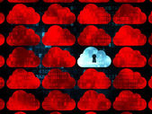 Cloud computing concept: cloud with keyhole icon on Digital background — Stock Photo