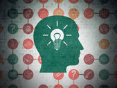 Education concept: Head With Light Bulb on Digital Paper background — Stock Photo