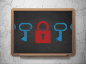 Safety concept: closed padlock icon on School Board background — Stock Photo