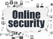 Safety concept: Online Security on Torn Paper background — Stock Photo