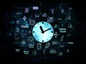 Time concept: Clock on Digital background — Stock Photo