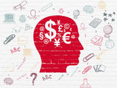 Education concept: Head With Finance Symbol on wall background — Stock Photo