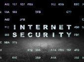 Safety concept: Internet Security in grunge dark room — Fotografia Stock
