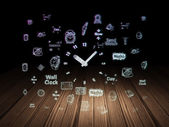 Timeline concept: Clock in grunge dark room — Stock Photo