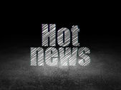 News concept: Hot News in grunge dark room — Fotografia Stock