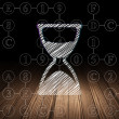 Time concept: Hourglass in grunge dark room — Stock Photo #71654987