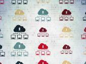 Концепция безопасности: Облако сети иконки на фоне Цифровая бумага — Стоковое фото
