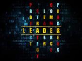 Finance concept: word Leader in solving Crossword Puzzle — Fotografia Stock