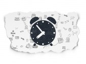 Timeline concept: Alarm Clock on Torn Paper background — Stock Photo