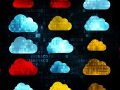 Cloud networking concept: Cloud icons on Digital background — Stock Photo