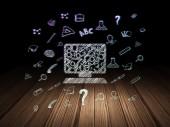 Education concept: Computer Pc in grunge dark room — Stockfoto