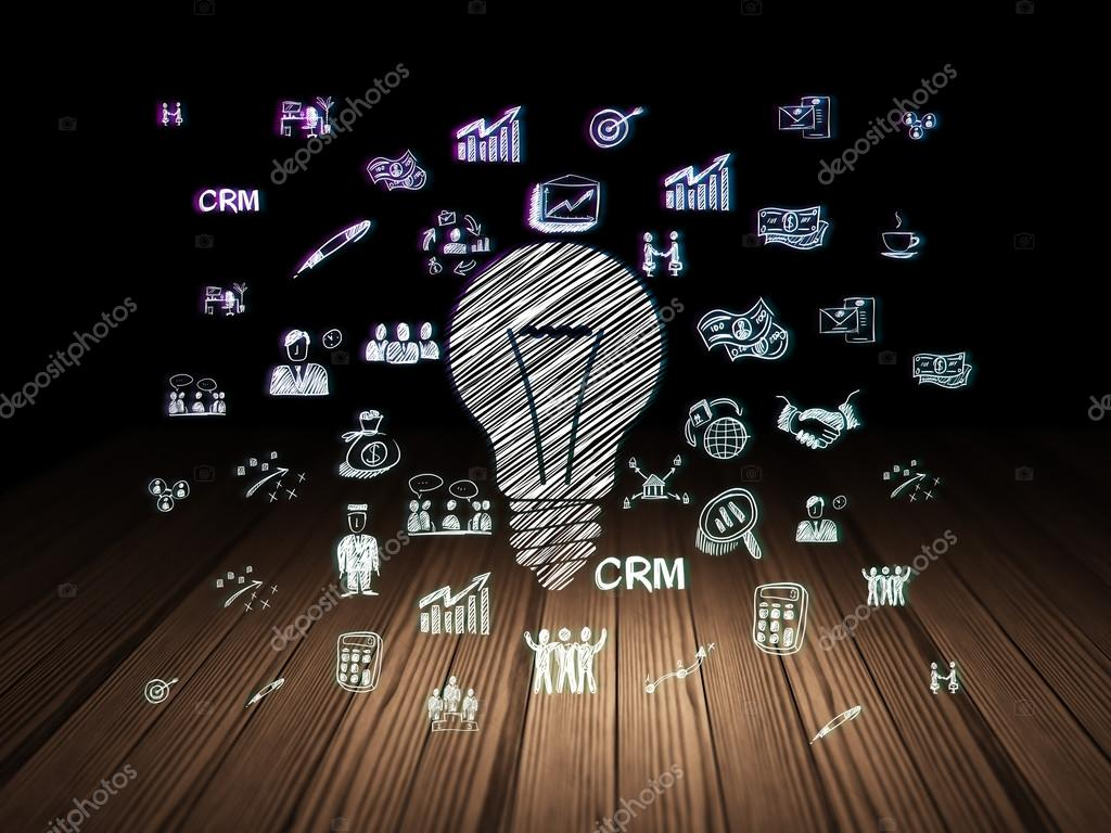 Dark room with light bulb - Business Concept Glowing Light Bulb Icon In Grunge Dark Room With Wooden Floor Black Background With Hand Drawn Business Icons 3d Render Photo By
