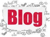 O conceito de design web: Blog sobre fundo de papel rasgado — Fotografia Stock