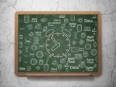 Time concept: Alarm Clock on School Board background — Stock Photo