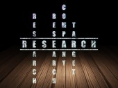 Advertising concept: word Research in solving Crossword Puzzle — Foto de Stock