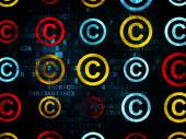 Law concept: Copyright icons on Digital background — Stock Photo