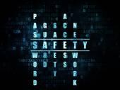 Concetto di sicurezza: sicurezza di word nel risolvere i cruciverba — Foto Stock