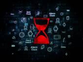 Tijd concept: zandloper op digitale achtergrond — Stockfoto