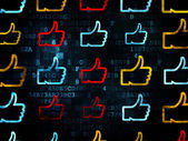 Social network concept: Thumb Up icons on Digital background — Stock Photo