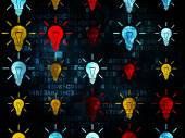 Finance concept: Light Bulb icons on Digital background — Stock Photo