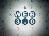 Conceito de Web design: Web 3.0 em fundo de papel Digital — Fotografia Stock