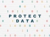 Privacy concept: Protect Data on wall background — Stock Photo