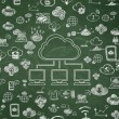 Cloud computing concept: Cloud Network on School Board background — Stock Photo #76034683