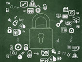 Safety concept: Closed Padlock on School Board background — Stock Photo