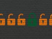 Protection concept: closed padlock icon on wall background — Stock Photo
