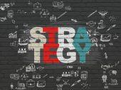 Finanční koncept: strategie na zeď na pozadí — Stock fotografie