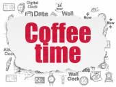 Concetto di cronologia: Coffee Time su priorità bassa di carta strappata — Foto Stock