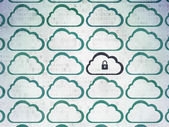 Cloud networking concept: cloud with padlock icon on Digital Paper background — Stock Photo