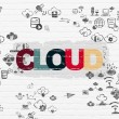 Cloud computing concept: Cloud on wall background — Stock Photo #79400096