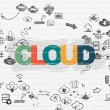 Cloud technology concept: Cloud on wall background — Stock Photo #79511124