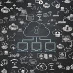 Cloud computing concept: Cloud Network on School Board — Stock Photo #80353122