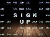 Web design concept: Sign Up in grunge dark room — Stock Photo