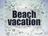 Travel concept: Beach Vacation on Digital Paper background — Stock Photo