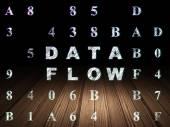 Data concept: Data Flow in grunge dark room — Stock Photo
