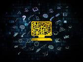 Concepto de aprendizaje: computadora Pc en fondo Digital — Foto de Stock