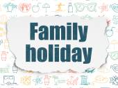 Travel concept: Family Holiday on Torn Paper background — Stock Photo