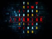Onderwijs concept: woorden leren in het oplossen van kruiswoordraadsel — Stockfoto