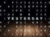 Timeline concept: Yesterday in grunge dark room — Stock Photo