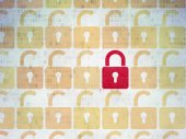 Privacy concept: closed padlock icon on Digital Paper background — Stock Photo