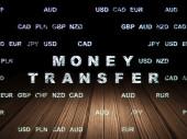 Finance concept: Money Transfer in grunge dark room — Stock Photo