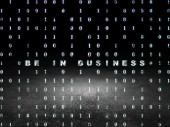 Business concept: Be in business in grunge dark room — Stock Photo