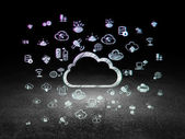 Cloud technology concept: Cloud in grunge dark room — Stock Photo