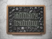 Studying concept: Military Training on School Board background — Stock Photo