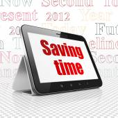 Timeline concept: Tablet Computer with Saving Time on display — Stock Photo